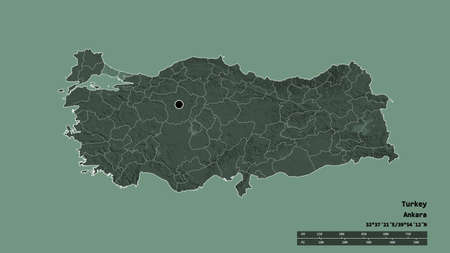 Desaturated shape of Turkey with its capital, main regional division and the separated Istanbul area. Labels. Colored elevation map. 3D rendering Standard-Bild