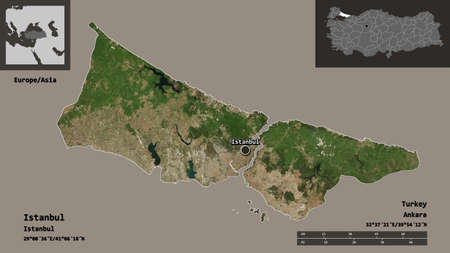 Shape of Istanbul, province of Turkey, and its capital. Distance scale, previews and labels. Satellite imagery. 3D rendering