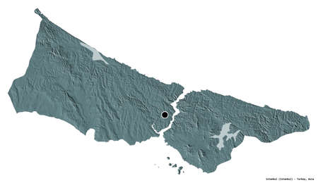 Shape of Istanbul, province of Turkey, with its capital isolated on white background. Colored elevation map. 3D rendering