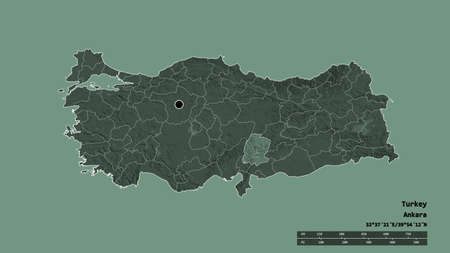 Desaturated shape of Turkey with its capital, main regional division and the separated K. Maras area. Labels. Colored elevation map. 3D rendering