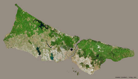 Shape of Istanbul, province of Turkey, with its capital isolated on a solid color background. Satellite imagery. 3D rendering