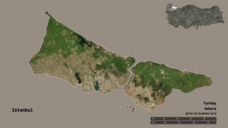 Shape of Istanbul, province of Turkey, with its capital isolated on solid background. Distance scale, region preview and labels. Satellite imagery. 3D rendering