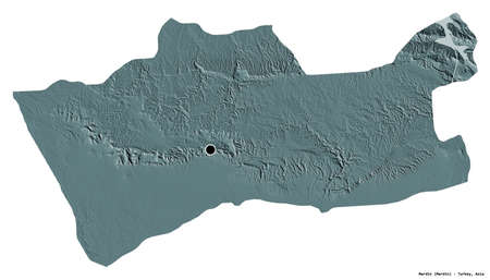 Shape of Mardin, province of Turkey, with its capital isolated on white background. Colored elevation map. 3D rendering