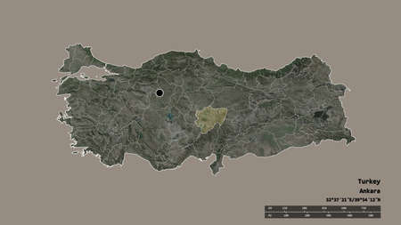 Desaturated shape of Turkey with its capital, main regional division and the separated Kayseri area. Labels. Satellite imagery. 3D rendering