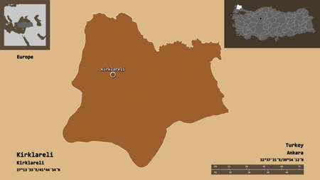 Shape of Kirklareli, province of Turkey, and its capital. Distance scale, previews and labels. Composition of patterned textures. 3D rendering