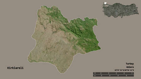 Shape of Kirklareli, province of Turkey, with its capital isolated on solid background. Distance scale, region preview and labels. Satellite imagery. 3D rendering