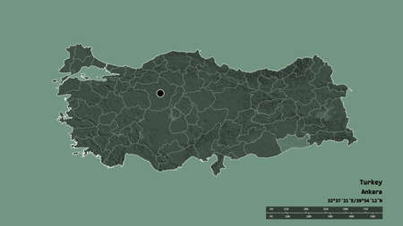Desaturated shape of Turkey with its capital, main regional division and the separated Mardin area. Labels. Colored elevation map. 3D rendering