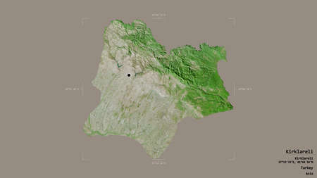Area of Kirklareli, province of Turkey, isolated on a solid background in a georeferenced bounding box. Labels. Satellite imagery. 3D rendering