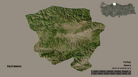 Shape of Kastamonu, province of Turkey, with its capital isolated on solid background. Distance scale, region preview and labels. Satellite imagery. 3D rendering