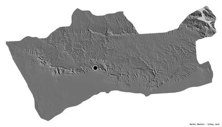 Shape of Mardin, province of Turkey, with its capital isolated on white background. Bilevel elevation map. 3D rendering
