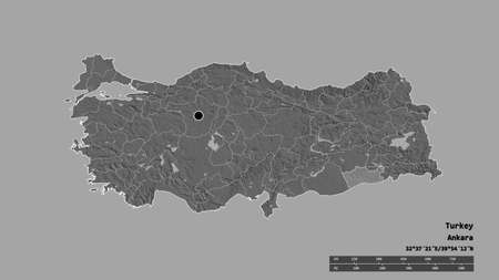 Desaturated shape of Turkey with its capital, main regional division and the separated Mardin area. Labels. Bilevel elevation map. 3D rendering Stock Photo