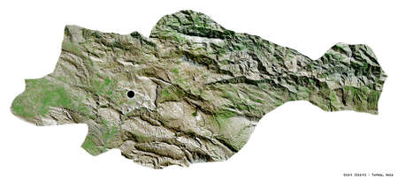 Shape of Siirt, province of Turkey, with its capital isolated on white background. Satellite imagery. 3D rendering