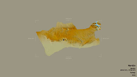 Area of Mardin, province of Turkey, isolated on a solid background in a georeferenced bounding box. Labels. Topographic relief map. 3D rendering