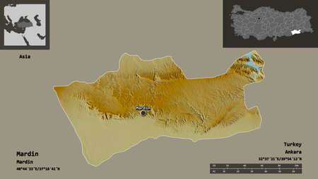 Shape of Mardin, province of Turkey, and its capital. Distance scale, previews and labels. Topographic relief map. 3D rendering Stock Photo