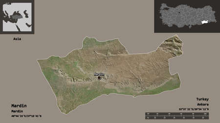 Shape of Mardin, province of Turkey, and its capital. Distance scale, previews and labels. Satellite imagery. 3D rendering