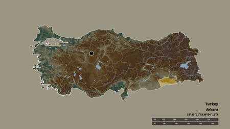Desaturated shape of Turkey with its capital, main regional division and the separated Mardin area. Labels. Topographic relief map. 3D rendering Stock Photo