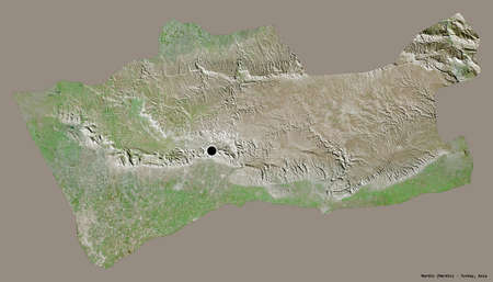 Shape of Mardin, province of Turkey, with its capital isolated on a solid color background. Satellite imagery. 3D rendering