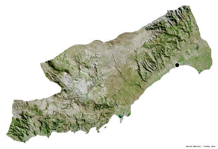 Shape of Mersin, province of Turkey, with its capital isolated on white background. Satellite imagery. 3D rendering