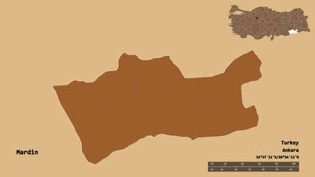 Shape of Mardin, province of Turkey, with its capital isolated on solid background. Distance scale, region preview and labels. Composition of patterned textures. 3D rendering Stock Photo