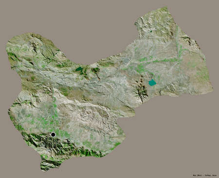 Shape of Mus, province of Turkey, with its capital isolated on a solid color background. Satellite imagery. 3D rendering