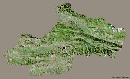 Shape of Tokat, province of Turkey, with its capital isolated on a solid color background. Satellite imagery. 3D rendering