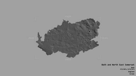 Area of Bath and North East Somerset, unitary authority of England, isolated on a solid background in a georeferenced bounding box. Labels. Bilevel elevation map. 3D rendering