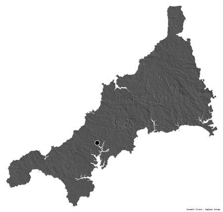 Shape of Cornwall, administrative county of England, with its capital isolated on white background. Bilevel elevation map. 3D rendering