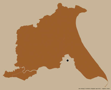 Shape of East Riding of Yorkshire, unitary authority of England, with its capital isolated on a solid color background. Composition of patterned textures. 3D rendering