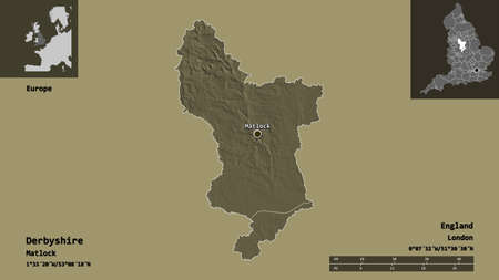 Shape of Derbyshire, administrative county of England, and its capital. Distance scale, previews and labels. Colored elevation map. 3D rendering