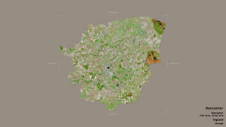 Area of Doncaster, administrative county of England, isolated on a solid background in a georeferenced bounding box. Labels. Satellite imagery. 3D rendering
