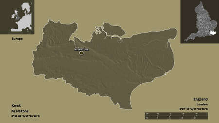 Shape of Kent, administrative county of England, and its capital. Distance scale, previews and labels. Colored elevation map. 3D rendering