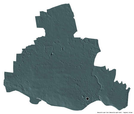 Shape of Newcastle upon Tyne, administrative county of England, with its capital isolated on white background. Colored elevation map. 3D rendering