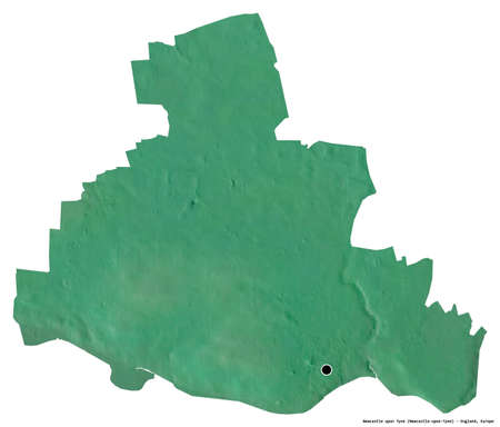Shape of Newcastle upon Tyne, administrative county of England, with its capital isolated on white background. Topographic relief map. 3D rendering
