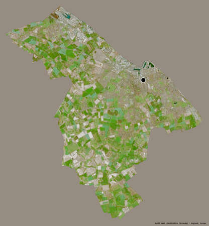 Shape of North East Lincolnshire, unitary authority of England, with its capital isolated on a solid color background. Satellite imagery. 3D rendering