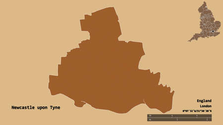 Shape of Newcastle upon Tyne, administrative county of England, with its capital isolated on solid background. Distance scale, region preview and labels. Composition of patterned textures. 3D rendering