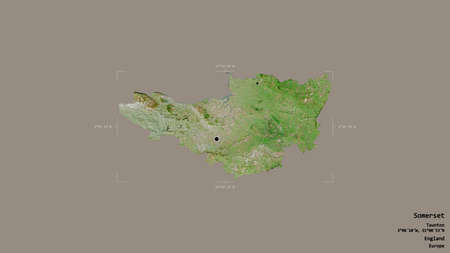Area of Somerset, administrative county of England, isolated on a solid background in a georeferenced bounding box. Labels. Satellite imagery. 3D rendering