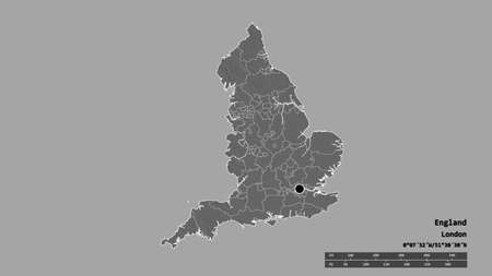 Desaturated shape of England with its capital, main regional division and the separated Shropshire area. Labels. Bilevel elevation map. 3D rendering
