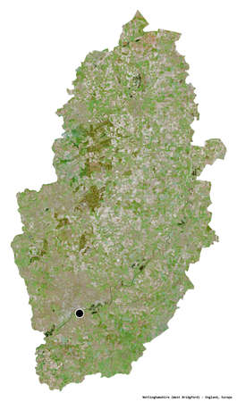 Shape of Nottinghamshire, administrative county of England, with its capital isolated on white background. Satellite imagery. 3D rendering