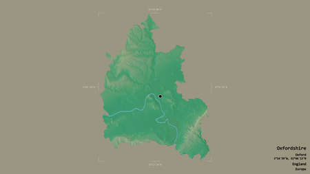 Area of Oxfordshire, administrative county of England, isolated on a solid background in a georeferenced bounding box. Labels. Topographic relief map. 3D rendering