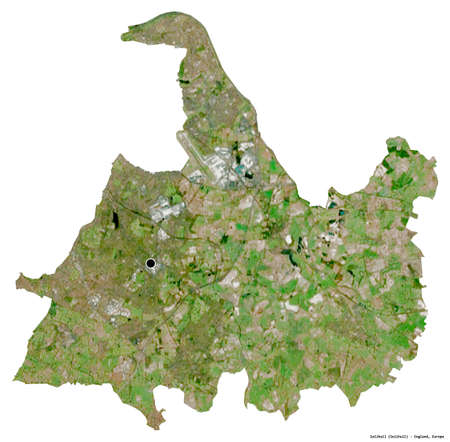 Shape of Solihull, unitary authority of England, with its capital isolated on white background. Satellite imagery. 3D rendering