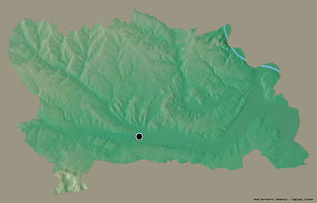 Shape of West Berkshire, county of England, with its capital isolated on a solid color background. Topographic relief map. 3D rendering