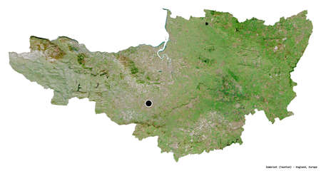 Shape of Somerset, administrative county of England, with its capital isolated on white background. Satellite imagery. 3D rendering