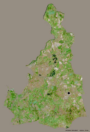 Shape of Wokingham, unitary authority of England, with its capital isolated on a solid color background. Satellite imagery. 3D rendering