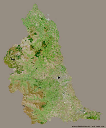 Shape of North East, region of United Kingdom, with its capital isolated on a solid color background. Satellite imagery. 3D rendering