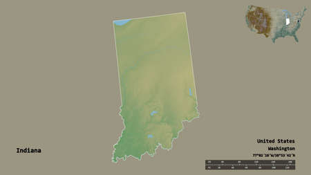 Shape of Indiana, state of Mainland United States, with its capital isolated on solid background. Distance scale, region preview and labels. Topographic relief map. 3D rendering