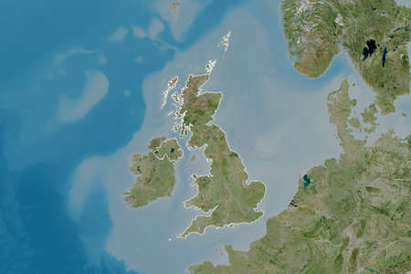 Extended area of United Kingdom with country outline, international and regional borders. Satellite imagery. 3D rendering