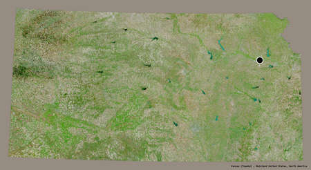 Shape of Kansas, state of Mainland United States, with its capital isolated on a solid color background. Satellite imagery. 3D rendering Stock fotó