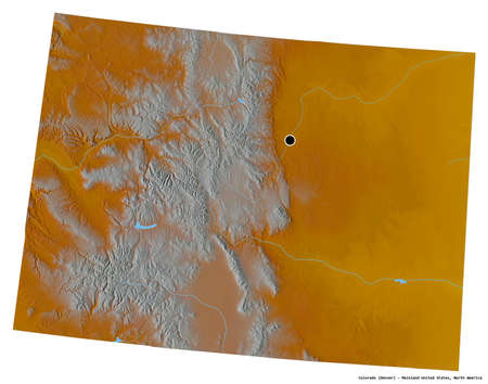 Shape of Colorado, state of Mainland United States, with its capital isolated on white background. Topographic relief map. 3D rendering