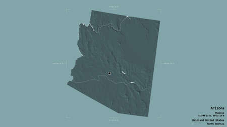 Area of Arizona, state of Mainland United States, isolated on a solid background in a georeferenced bounding box. Labels. Colored elevation map. 3D rendering