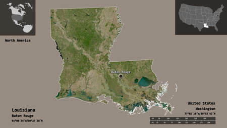 Shape of Louisiana, state of Mainland United States, and its capital. Distance scale, previews and labels. Satellite imagery. 3D rendering